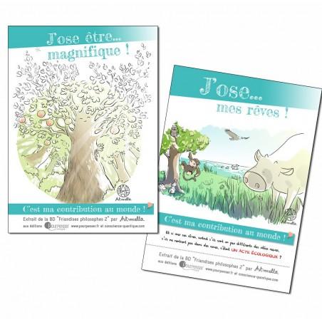 """Cartes postales """"Oser être magnifique"""" et """"Oser ses rêves"""""""